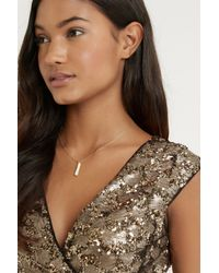 Oasis | Metallic Gold Plated Pave Stick Short Pendant | Lyst