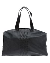 Bottega Veneta - Black Woven Detail Hold All for Men - Lyst