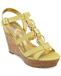 Marc Fisher - Yellow Genre Platform Wedge Sandals - Lyst