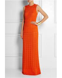 M Missoni   Orange Crochet-Knit Cotton-Blend Maxi Dress   Lyst