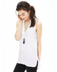 Banana Republic | White Notched Sleeveless Popover Blouse | Lyst
