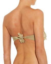 OndadeMar - Metallic Ruffled Bandeau Bikini Top - Lyst