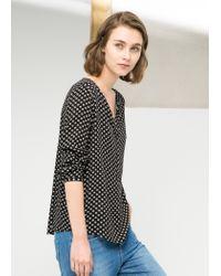 Mango - Black Lightweight Printed Shirt - Lyst