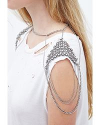 Forever 21 | Metallic Rhinestone Shoulder Chain | Lyst