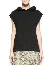 Pam & Gela - Black Sleeveless Hooded Sweatshirt - Lyst