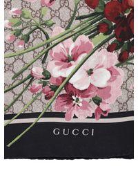Gucci - Black Geranium & Logo Printed Silk Twill Scarf - Lyst