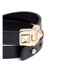 Valentino - Black Rockstud Double Wrap Hinge Leather Bracelet - Lyst