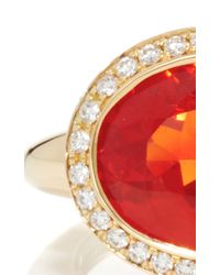Pamela Huizenga | Red 18K Gold Ring With Mexican Fire Opal And A Diamond Nest | Lyst