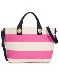 Tommy Hilfiger - Pink Grommets Woven Rugby Stripe Small Tote - Lyst