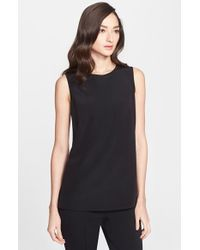 St. John | Black Stretch Crepe De Chine Shell | Lyst