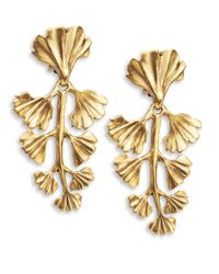 Oscar de la Renta | Metallic Fern Drop Clip-On Earrings | Lyst
