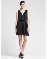 Banana Republic - Black Shine Double-Vee Dress - Lyst