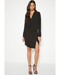 Forever 21 - Black Mlm Surplice Wrap-front Dress - Lyst