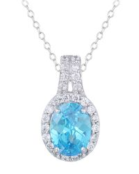 Lord & Taylor | Blue Sterling Silver And Aqua Cubic Zirconia Pendant Necklace | Lyst