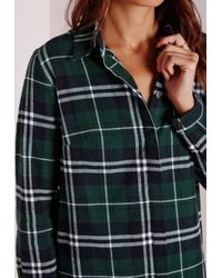 1ab42e82063 Lyst - Missguided Oversized Shirt Dress Green/white Check in Black