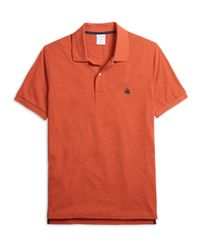 Brooks Brothers - Orange Slim Fit Heathered Polo Shirt for Men - Lyst