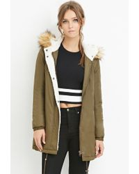 Forever 21 | Green Hooded Faux Shearling Parka | Lyst