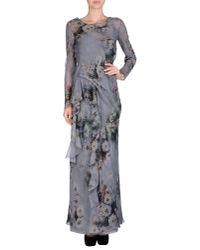 Alberta Ferretti - Gray Long Dress - Lyst