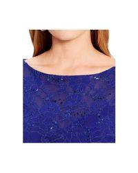 Lauren by Ralph Lauren - Blue Plus Size Sequined Faux-Wrap Dress - Lyst