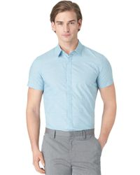 Calvin Klein | Blue Slim Fit Poplin Check Sportshirt for Men | Lyst