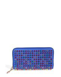 Christian Louboutin | Blue 'panettone' Spiked Calfskin Wallet | Lyst