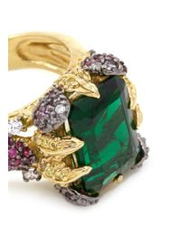 Anabela Chan - Green 'emerald' 18k Gold Solitaire Emerald Diamond Pavé Cocktail Ring - Lyst