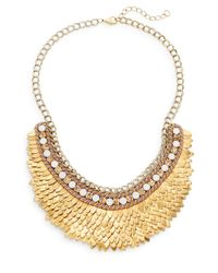 Deepa Gurnani | Metallic Austrian Crystal & Suede Feather Bib Necklace/goldtone | Lyst