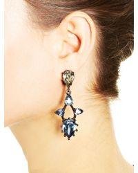 Oscar de la Renta | Blue Navy & Crystal Pear Stone Pendant Earrings | Lyst