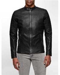 Calvin Klein | Black Jeans Faux Leather Quilted Moto Jacket for Men | Lyst