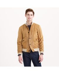 J.Crew   Brown Buttoned Suede Bomber Jacket for Men   Lyst
