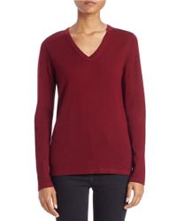 Lord & Taylor | Blue Plus Merino Wool Basic V-neck Sweater | Lyst
