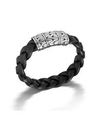John Hardy | Extra Large Station Bracelet On Braided Black Leather for Men | Lyst