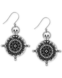 Lucky Brand | Metallic Silver-tone Tribal Coin Drop Earrings | Lyst