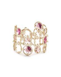 Oscar de la Renta - Purple Framed Crystal Bracelet - Lyst