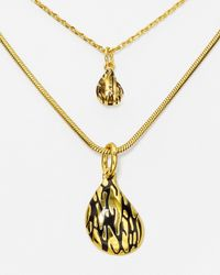 "Diane von Furstenberg - Metallic Dual Layer Pendant Necklace, 14.5"" - Lyst"