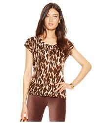 Michael Kors | Brown Michael Petite Leopard Haze Cap-sleeve Tee | Lyst