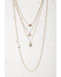 Forever 21 | Metallic Layered Faux Stone Beaded Necklace | Lyst