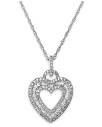 Macy's | Metallic Diamond Heart Pendant Necklace In Sterling Silver (1/2 Ct. T.w.) | Lyst