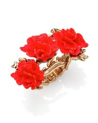 Oscar de la Renta | Metallic Red Coral-motif Hinge Bracelet | Lyst