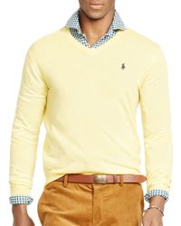 Pink Pony - Yellow Polo Slim-fit Merino V-neck Sweater for Men - Lyst