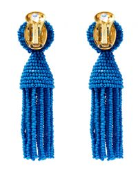 Oscar de la Renta | Blue Short Beaded Tassel Clip-on Earrings | Lyst