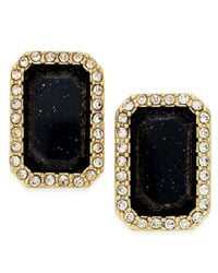 Kate Spade | Black Gold-tone Jet Stone And Pavé Crystal Stud Earrings | Lyst