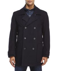 Marc New York - Blue Double-Breasted Wool Peacoat for Men - Lyst