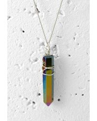 Forever 21 - Metallic Wire-wrapped Faux Gemstone Necklace - Lyst