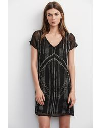 Velvet By Graham & Spencer - Black Odet Beaded Chiffon Dress - Lyst