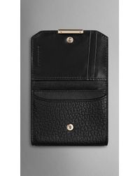 Burberry - Black Signature Grain Leather Card Case - Lyst
