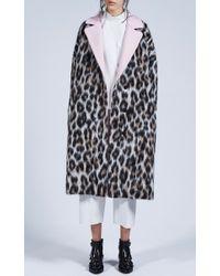 MSGM | Multicolor Leopard Print Wool Felt Overcoat | Lyst