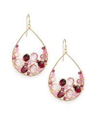 Nunu | Garnet & Pink Topaz Cluster Earrings | Lyst