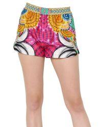 Manish Arora | Pink Printed Peached Cotton Shorts | Lyst