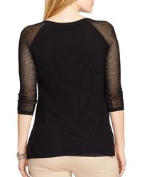 Ralph Lauren | Black Lauren Linen-blend Mesh Sweater | Lyst